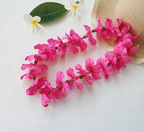 L024 SHOCKING PINK HIBISCUS LEI นอน 1